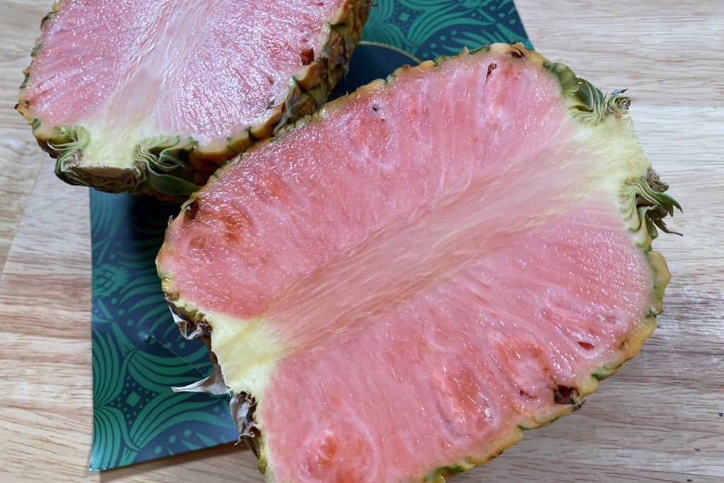 A cross-section of a pinkglow pineapple.